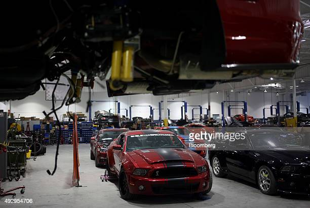 Cobra sports cars sit parked on the factory floor at the Shelby American Inc. World headquarters in Las Vegas, Nevada, U.S., on Wednesday, Oct. 14,...