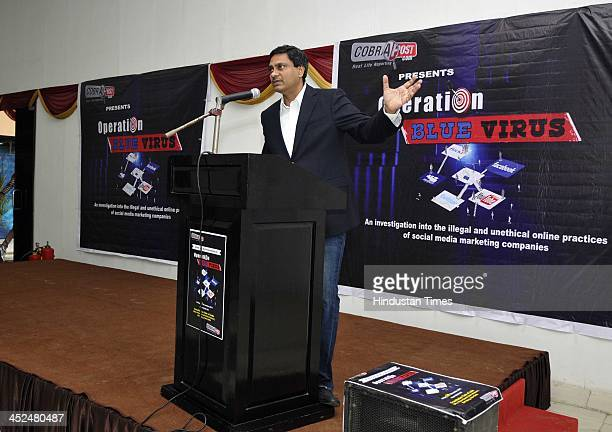 Cobrapost Editor Aniruddha Bahal briefing during a press conference on undercover operation by Cobrapost who has exposed how IT companies in India...