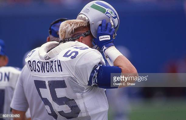 Brian Bosworth of the Seattle Seahawks circa 1987 prepares to take the field against the Denver Broncos at Mile High Stadiu in Denver Colorado