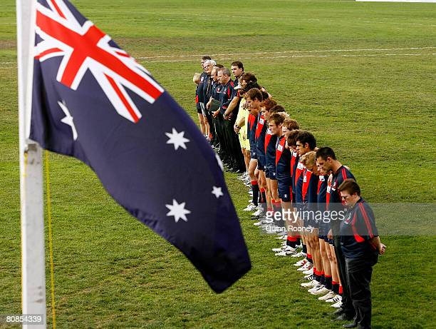 Coburg players pay their respect for Anzac Day before the start of the round five VFL match between the Coburg Tigers and the Box Hill Hawks at ABD...