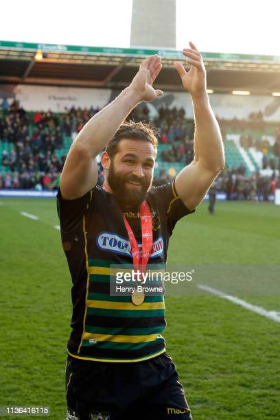 Cobus Reinach of Northampton Saints acknowledges the crowd after victory in the Premiership Rugby Cup Final match between Northampton Saints and...
