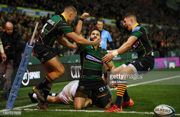 Cobus Reinach of Northampton Saints celebrates after scoring a try during the Gallagher Premiership Rugby match between Northampton Saints and London...
