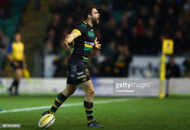 Cobus Reinach of Northampton Saints celebrates scoring a try during the Aviva Premiership match between Northampton Saints and Exeter Chiefs at...