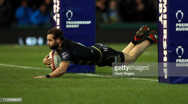 Cobus Reinach of Northampton Saints dives over for a second half try during the Premiership Rugby Cup match between Northampton Saints and Leicester...