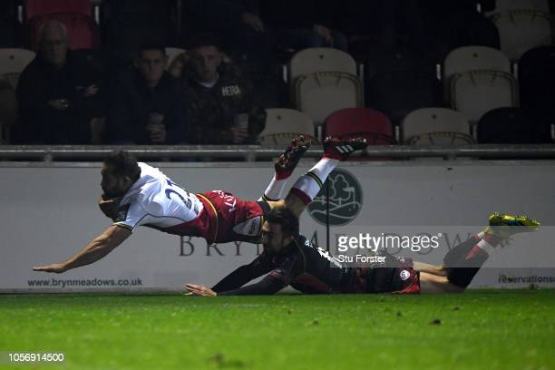 Cobus Reinach of Northampton Saints scores a try during the Challenge Cup match between Newport Dragons and Northampton Saints at Rodney Parade on...