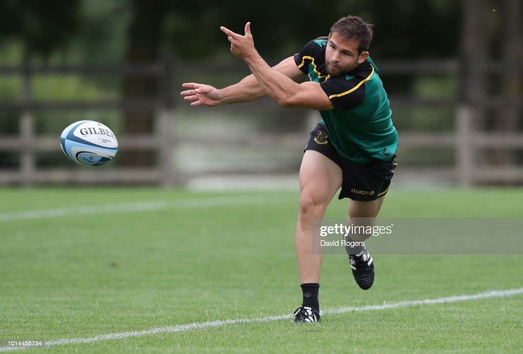 Cobus Reinach passes the ball during the Northampton Saints training session held at Franklin's Gardens on August 10, 2018 in Northampton, England.