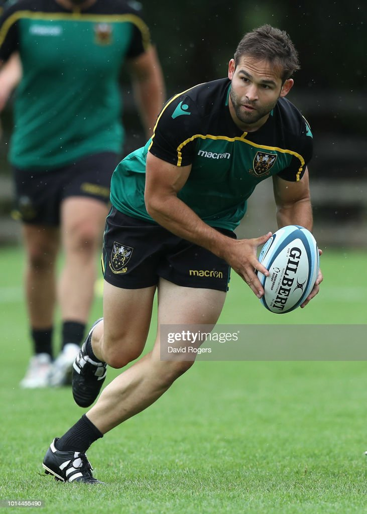 Cobus Reinach runs with the ball during the Northampton Saints training session held at Franklin's Gardens on August 10, 2018 in Northampton, England.