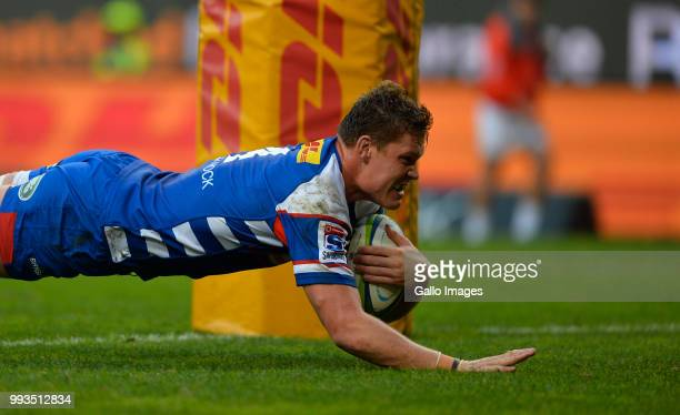 Cobus Wiese of the Stormers score a try during the Super Rugby match between DHL Stormers and Cell C Sharks at DHL Newlands on July 07 2018 in Cape...