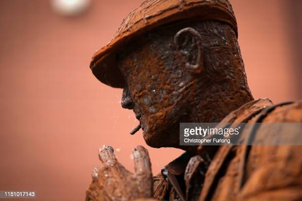 Cobwebs hang from the Scunthorpe Steelworkers Sculpture as it is announced that the town's British Steel's Scunthorpe works has been forced into...