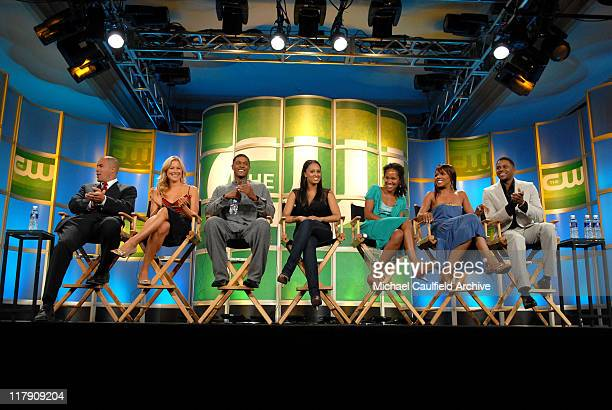 """Coby Bell, Brittany Daniel, Pooch Hal, Tia Mowry, Mara Brock Akil, executive producer, Wendy Raquel Robinson and Hosea Chanchez of """"The Game"""""""