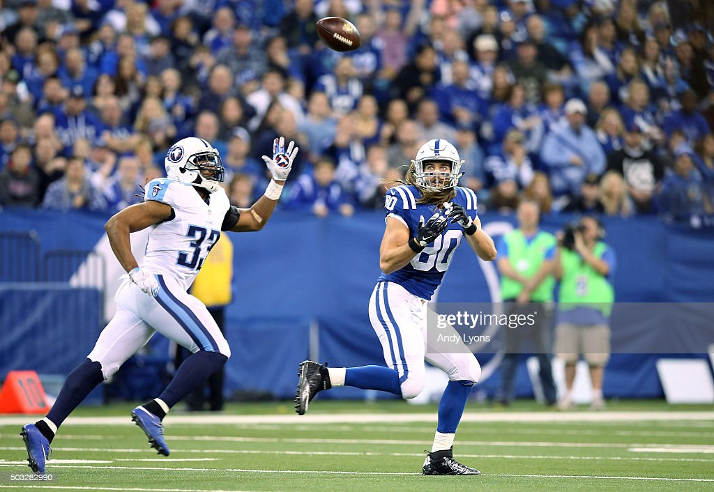 Coby Fleener #80 of the Indianapolis Colts attempts to make a catch past Michael Griffin #33 of the Tennessee Titans at Lucas Oil Stadium on January 3, 2016 in Indianapolis, Indiana.