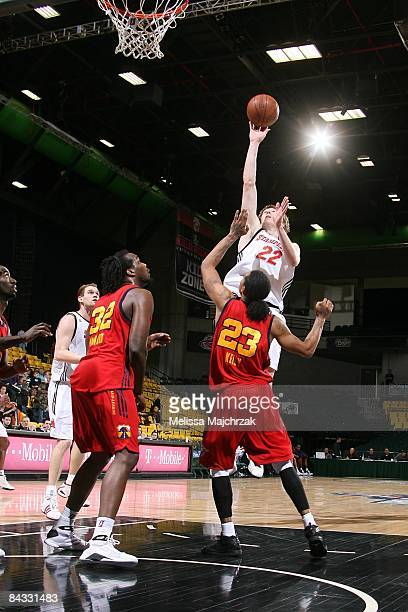 Coby Karl of the Idaho Stampede lays up a shot against Jeremy Kelly of the Tulsa 66ers at McKay Events Center during the NBA DLeague Showcase on...