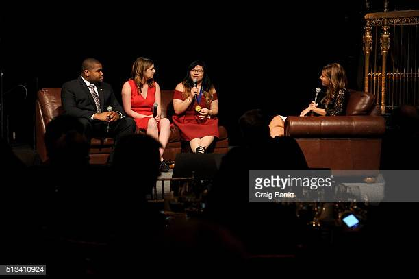 Coby Owens Val Weisler and Patricia Manubay are interviewed onstage by Trish Regan during Jefferson Awards Foundation 2016 NYC National Ceremony on...