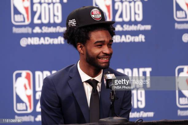 Coby White is interviewed after being drafted by the Chicago Bulls during the 2019 NBA Draft on June 20 2019 at the Barclays Center in Brooklyn New...