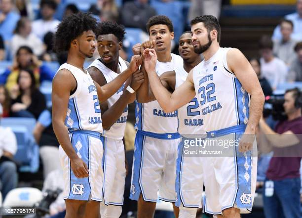 Coby White Nassir Little Cameron Johnson Kenny Williams and Luke Maye of the North Carolina Tar Heels during their game against the Mount Olive...