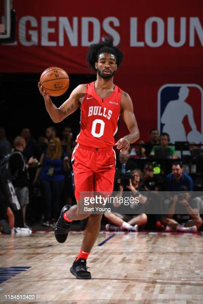 Coby White of the Chicago Bulls dribbles up court against the Cleveland Cavaliers during Day 3 of the 2019 Las Vegas Summer League on July 7 2019 at...