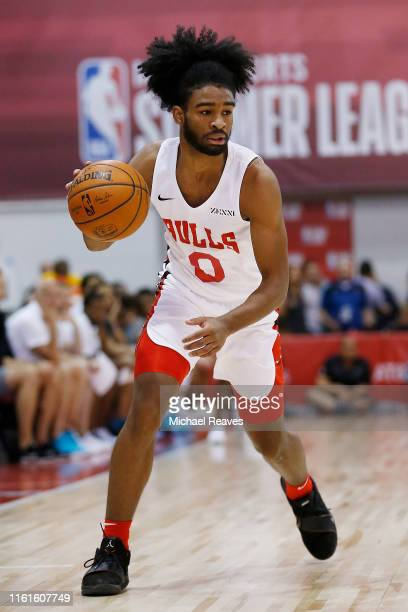 Coby White of the Chicago Bulls dribbles with the ball against the Charlotte Hornets during the 2019 Summer League at the Cox Pavilion on July 10...