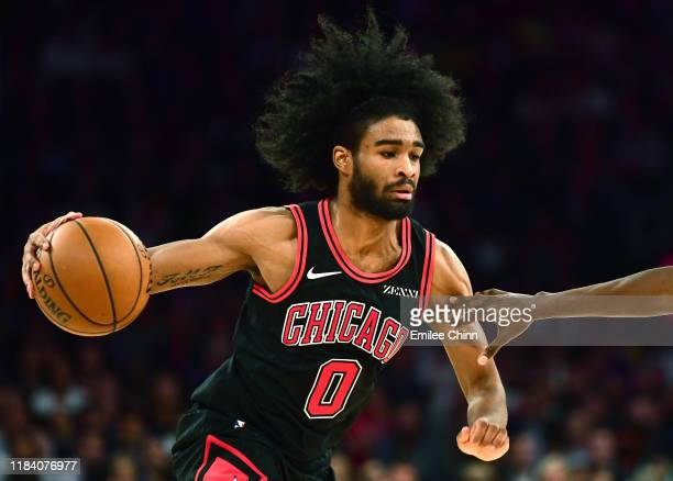 Coby White of the Chicago Bulls drives in the second half of their game against the New York Knicks at Madison Square Garden on October 28 2019 in...