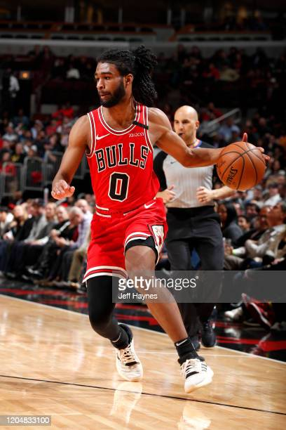 Coby White of the Chicago Bulls drives to the basket against the Dallas Mavericks on March 2 2020 at United Center in Chicago Illinois NOTE TO USER...