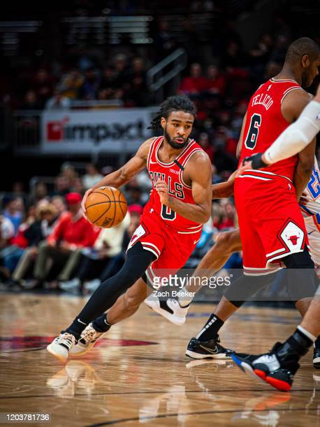 Coby White of the Chicago Bulls drives to the basket against the Oklahoma City Thunder on February 25 2020 at the United Center in Chicago Illinois...