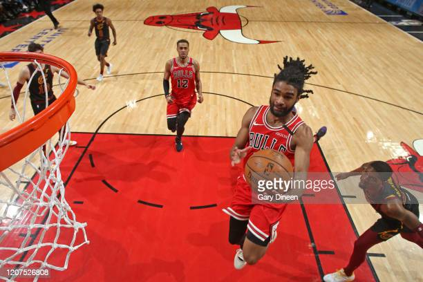 Coby White of the Chicago Bulls drives to the basket during the game against the Cleveland Cavaliers on March 10 2020 at the United Center in Chicago...