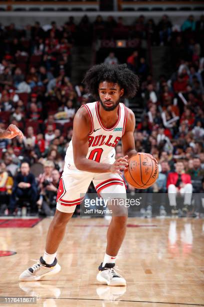 Coby White of the Chicago Bulls handles the ball against the Atlanta Hawks during a preseason game on October 17 2019 at United Center in Chicago...