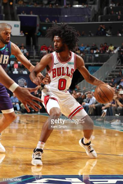 Coby White of the Chicago Bulls handles the ball against the Charlotte Hornets on October 23 2019 at Spectrum Center in Charlotte North Carolina NOTE...