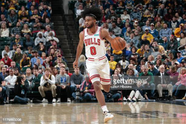 Coby White of the Chicago Bulls handles the ball against the Indiana Pacers on November 3 2019 at Bankers Life Fieldhouse in Indianapolis Indiana...