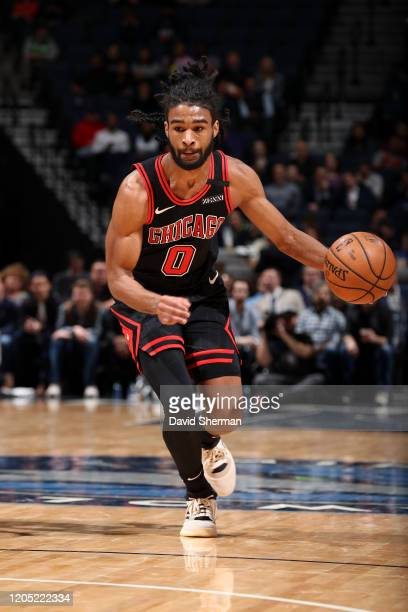 Coby White of the Chicago Bulls handles the ball against the Minnesota Timberwolves on March 04 2020 at Target Center in Minneapolis Minnesota NOTE...