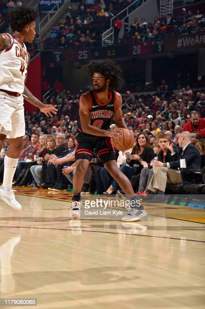 Coby White of the Chicago Bulls handles the ball against the Cleveland Cavaliers on October 30 2019 at Quicken Loans Arena in Cleveland Ohio NOTE TO...