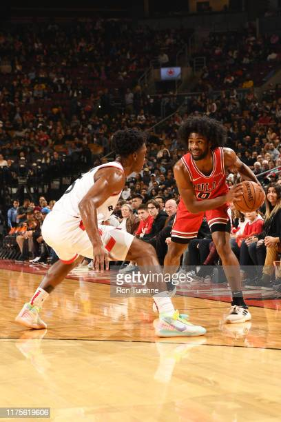 Coby White of the Chicago Bulls handles the ball against the Toronto Raptors during a preseason game on October 13 2019 at the Scotiabank Arena in...