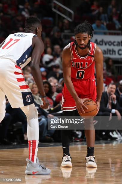 Coby White of the Chicago Bulls handles the ball against the Washington Wizards on February 23 2020 at the United Center in Chicago Illinois NOTE TO...
