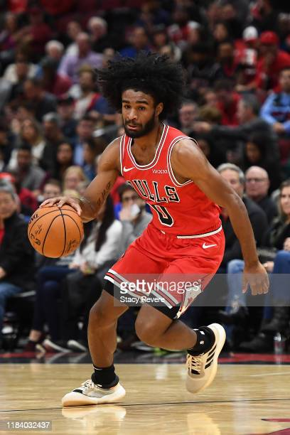 Coby White of the Chicago Bulls handles the ball during a game against the Toronto Raptors at United Center on October 26 2019 in Chicago Illinois...