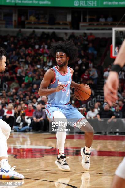 Coby White of the Chicago Bulls handles the ball during the game against the Memphis Grizzlies on December 4 2019 at the United Center in Chicago...