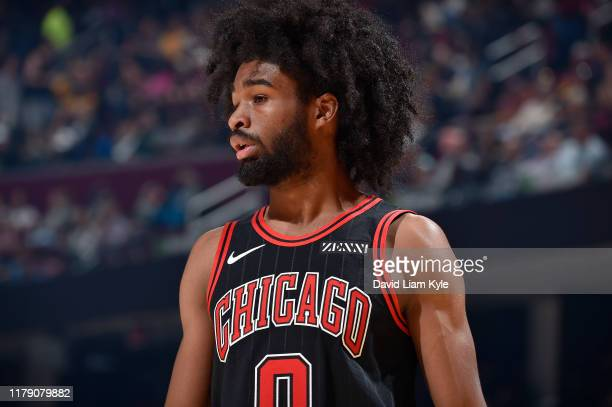 Coby White of the Chicago Bulls looks on against the Cleveland Cavaliers on October 30 2019 at Quicken Loans Arena in Cleveland Ohio NOTE TO USER...