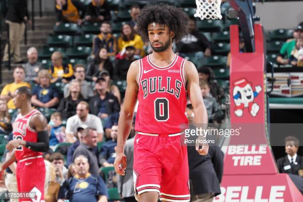 Coby White of the Chicago Bulls looks on against the Indiana Pacers during a preseason game on October 11 2019 at Bankers Life Fieldhouse in...