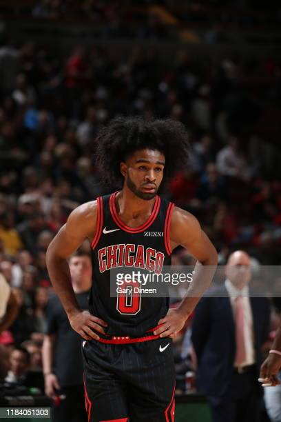 Coby White of the Chicago Bulls looks on against the Miami Heat on November 22 2019 at the United Center in Chicago Illinois NOTE TO USER User...