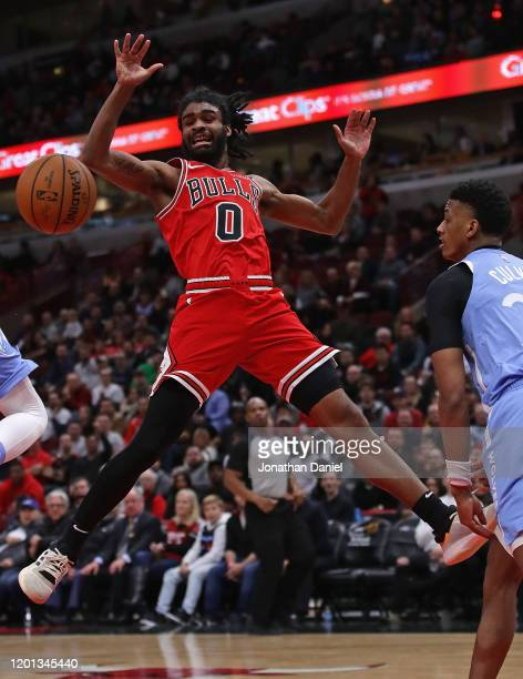 Coby White of the Chicago Bulls looses control of the ball after it's knocked away by Jarrett Culver of the Minnesota Timberwolves at the United...