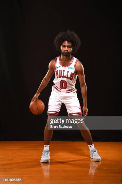 Coby White of the Chicago Bulls poses for a portrait during the 2019 NBA Rookie Photo Shoot on August 11 2019 at the Fairleigh Dickinson University...