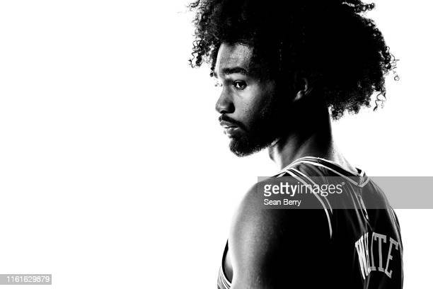 Coby White of the Chicago Bulls poses for a portrait during the 2019 NBA Rookie Photo Shoot on August 11 2019 at Fairleigh Dickinson University in...