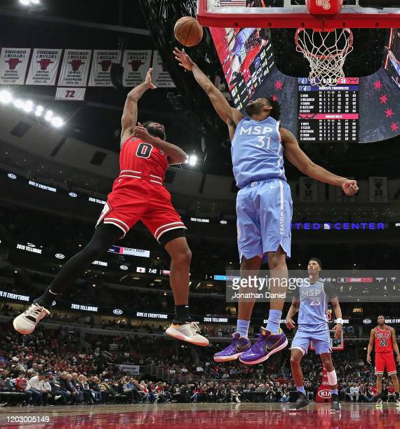 Coby White of the Chicago Bulls puts up a shot against Keita BatesDiop of the Minnesota Timberwolves at the United Center on January 22 2020 in...