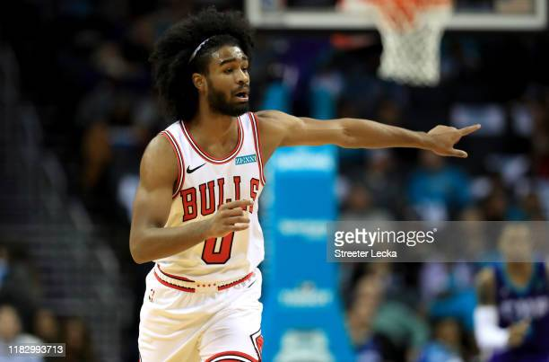 Coby White of the Chicago Bulls reacts during their game against the Charlotte Hornets at Spectrum Center on October 23 2019 in Charlotte North...