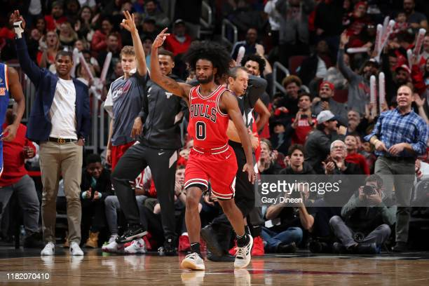 Coby White of the Chicago Bulls reacts to a play during the game against the New York Knicks on November 12 2019 at the United Center in Chicago...