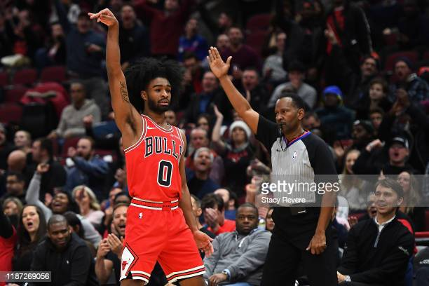 Coby White of the Chicago Bulls reacts to a three point shot against the New York Knicks during the second half of a game at United Center on...