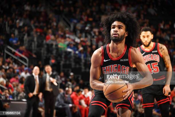 Coby White of the Chicago Bulls shoots a free throw during a game against the Detroit Pistons on December 21 2019 at Little Caesars Arena in Detroit...