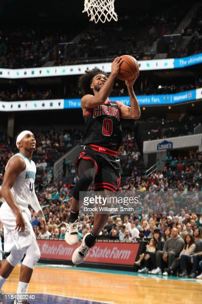 Coby White of the Chicago Bulls shoots the ball against the Charlotte Hornets on November 23 2019 at Spectrum Center in Charlotte North Carolina NOTE...