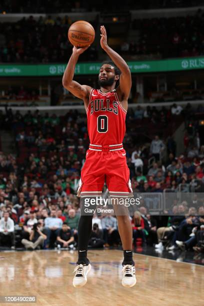 Coby White of the Chicago Bulls shoots the ball against the Cleveland Cavaliers on March 10 2020 at the United Center in Chicago Illinois NOTE TO...