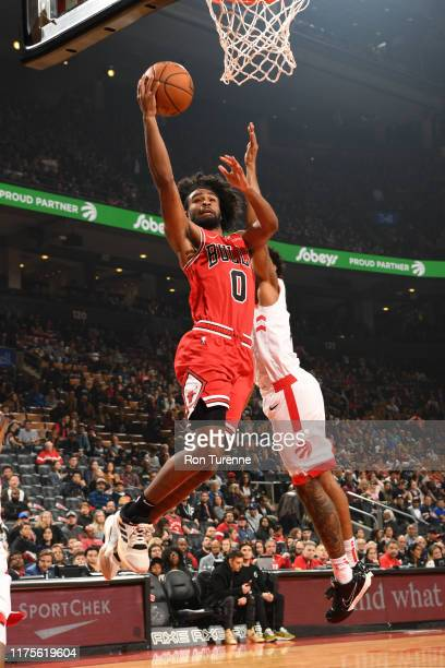 Coby White of the Chicago Bulls shoots the ball against the Toronto Raptors during a preseason game on October 13 2019 at the Scotiabank Arena in...