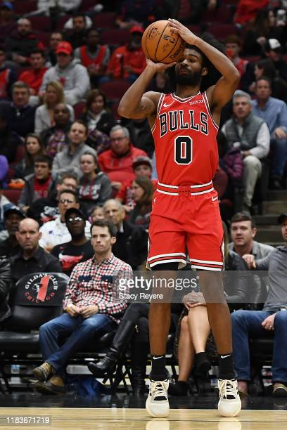 Coby White of the Chicago Bulls takes a three point shot during the second half of a game against the Toronto Raptors at United Center on October 26...
