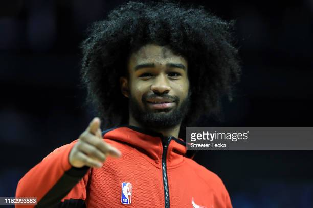 Coby White of the Chicago Bulls watches on before their game against the Charlotte Hornets at Spectrum Center on October 23 2019 in Charlotte North...